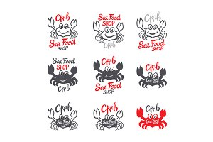 set Crab Seafood shop logo