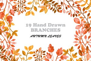 Hand Drawn Branches Set. Autumn