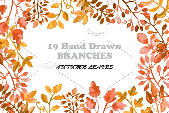 Hand Drawn Branches Set. Autumn in Illustrations