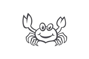 Crab vector sea food icon flat