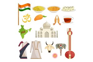 India icons set, catoon style