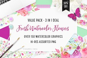 3 IN 1 PACK - Watercolor Flowers