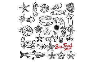 marine life set seafood shop vector