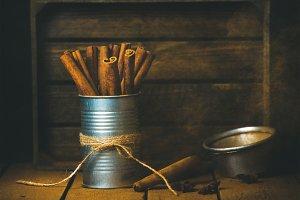 Cinnamon sticks in tin can