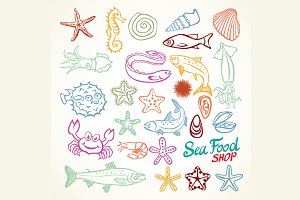 marine life set seafood shop vector