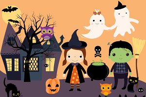 Halloween clipart - kids, ghosts