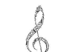 Treble clef sign on white