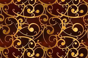 Golden baroque swirls on red