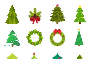 Christmas tree icons set vector