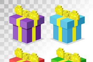 Colorful 3d gift boxes vector