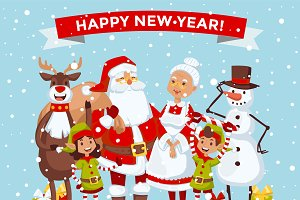Santa Claus family vector card