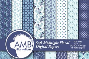 Floral Papers Blue on Blue 1445