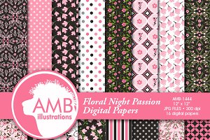 Pink Floral Digital Papers 1444