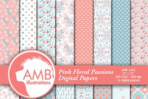 Pink and Teal Floral Papers 1443