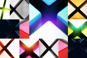 Set of 14 geometric backgrounds