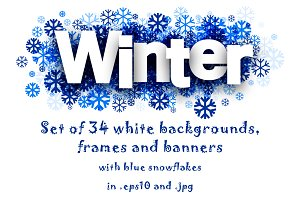 Winter set with blue snowflakes
