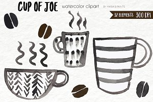 Watercolor Clip Art - Coffee, Mugs