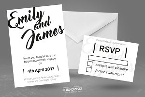 White Wedding Invitation Template