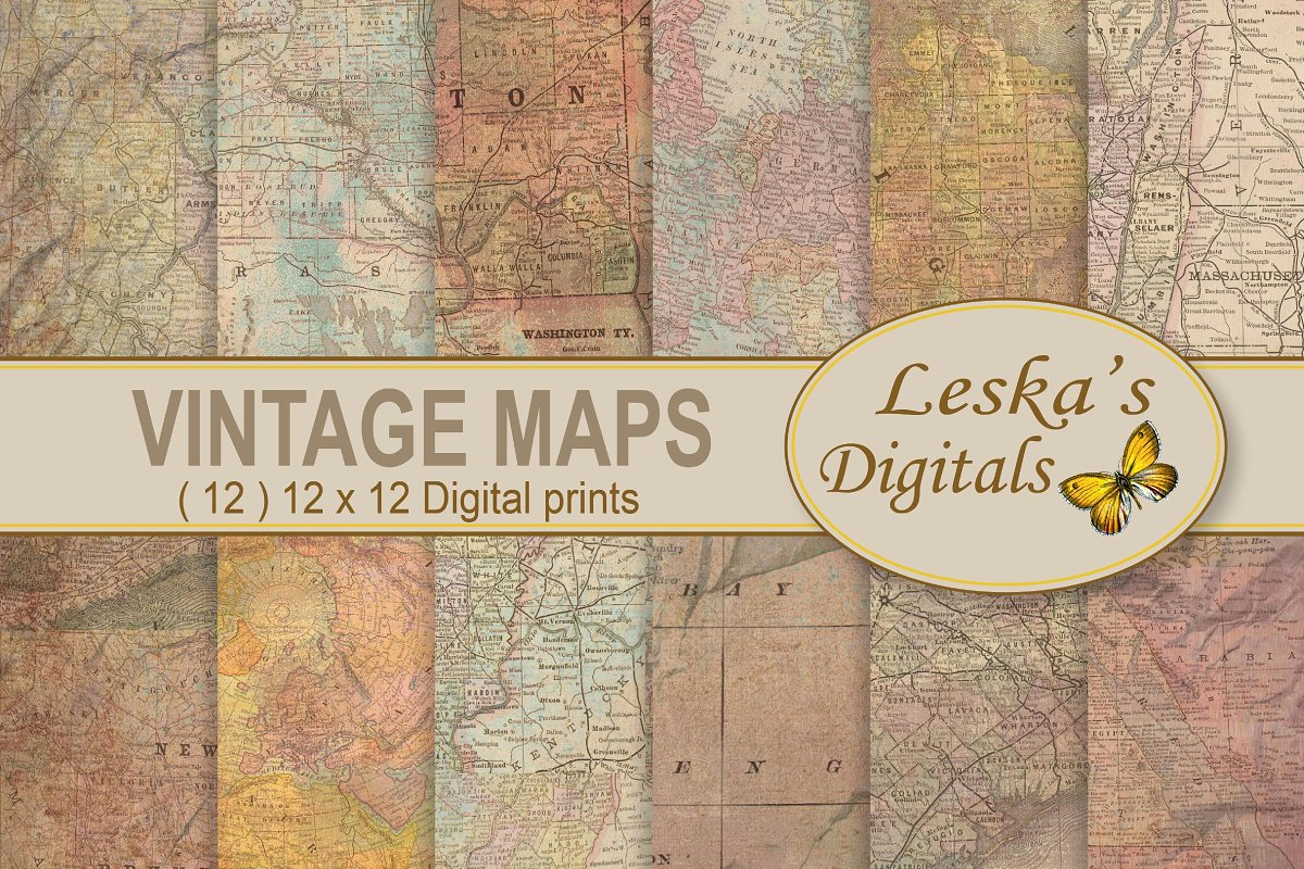 ecd2dbaf15a25 Maps Digital Background ~ Textures ~ Creative Market