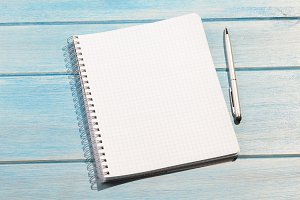 notepad on table