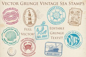 Vector Grunge Vintage Sea Stamps