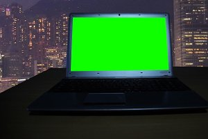 Notebook with a green  screen