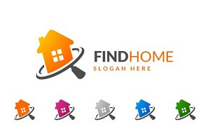 Real estate logo,find home,search v1