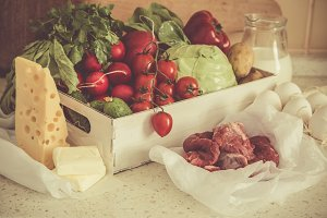 Selection of fresh products from farmers market