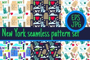 5 seamless pattern New York city