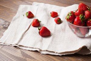fresh ripe srawberries and kitchen
