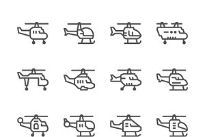 Set line icons of helicopter