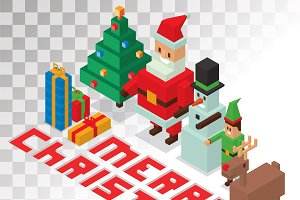 Christmas 3d pixel art vector