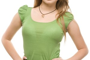 woman in green t-shirt