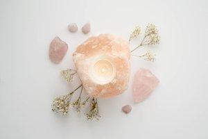Salt Lamp with Rose Quartz