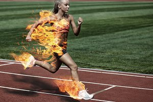 woman running in fire