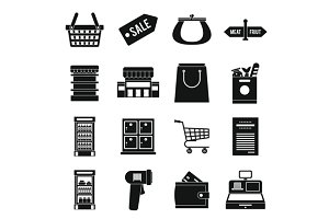Supermarket icons set, simple ctyle