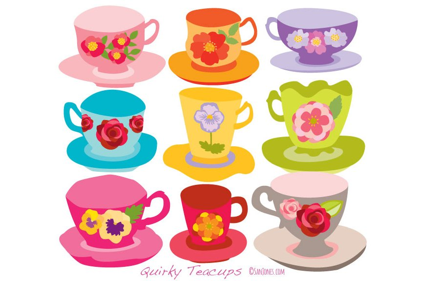 Tea cup clipart photos graphics fonts themes templates quirky teacups ilustration fandeluxe Epub