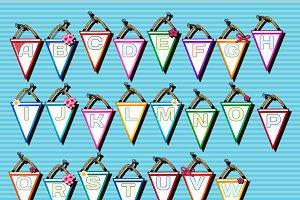 Alphabet on the triangular cards