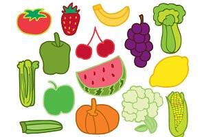 Hand drawn fruits n veggies