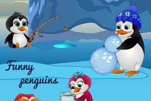 Five funny penguins