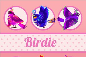 Six birds on a pink background