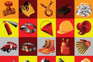 Set of 25 icons fire equipment