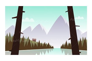 Cartoon Mountain Landscape
