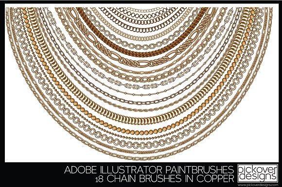 18 Vector Chain Brushes Illustrator