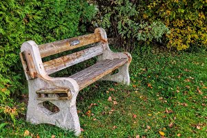 Rustic Bench by Pond in Autumn