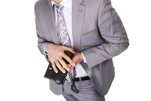 business man in grey suit