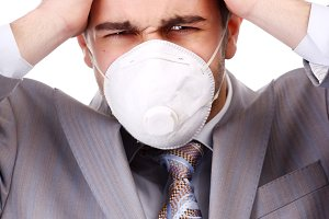 man in white respirator
