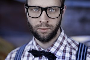 Redneck nerd man in glasses