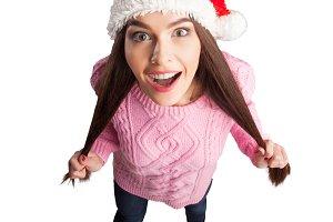 model in christmas hat