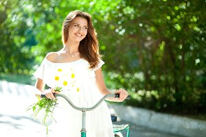 woman in  an old bicycle handlebars